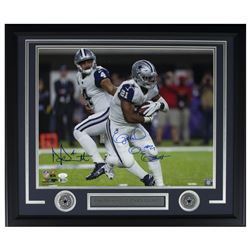 Ezekiel Elliott  Dak Prescott Signed Dallas Cowboys 22x27 Custom Framed Photo Display (JSA COA  Beck
