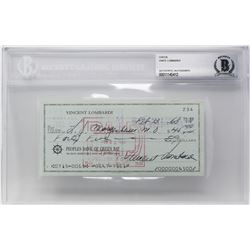 Vince Lombardi Signed 1968 Personal Bank Check (BAS Encapsulated)