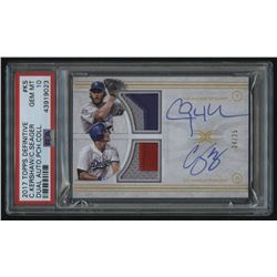 2017 Topps Definitive Collection Dual Autograph Relics #DARCKS Corey Seager / Clayton Kershaw #24/25
