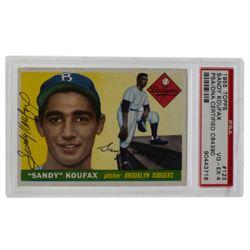 Sandy Koufax Signed 1955 Topps #123 (PSA 4)