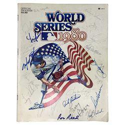 1980 Philadelphia Phillies World Series Program Team-Signed by (23) with Pete Rose, Tug McGraw, Larr