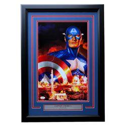 """Greg Horn Signed """"Captain America"""" 17x25 Custom Framed Lithograph Display (JSA COA)"""