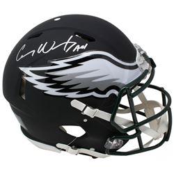 Carson Wentz Signed Philadelphia Eagles Full-Size Authentic On-Field Matte Black Speed Helmet Inscri