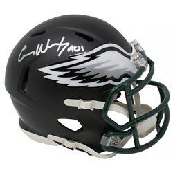 "Carson Wentz Signed Philadelphia Eagles Matte Black Speed Mini Helmet Inscribed ""AO1"" (Fanatics Holo"