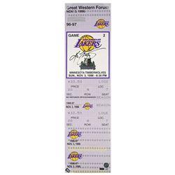 """Kobe Bryant Signed """"1st Game"""" 9x33 LE Oversized Ticket on Canvas (Panini COA)"""