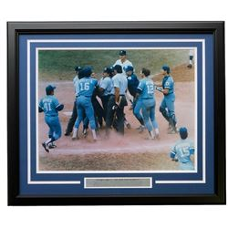 "George Brett ""The Pine Tar Incident"" 22x27 Custom Framed Photo Display with Engraved Nameplate"