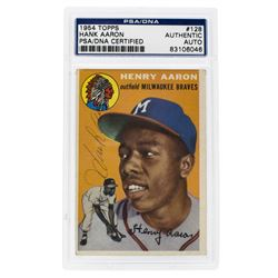 Hank Aaron Signed 1954 Topps #128 RC (PSA Encapsulated)