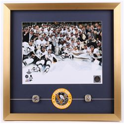 Pittsburgh Penguins 20x20 Custom Framed Photo Display with (2) Replica Rings