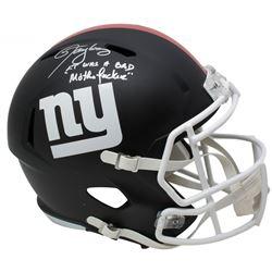"Lawrence Taylor Signed New York Giants Full-Size Matte Black Speed Helmet Inscribed ""LT Was a Bad M*"