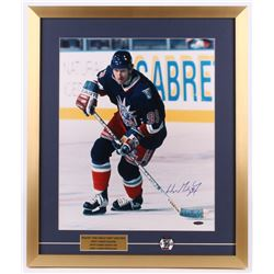 Wayne Gretzky Signed New York Rangers 21.5x25.5 Custom Framed Photo Display with Gretzky Pin (UDA Ho