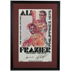 """Muhammad Ali  Joe Frazier Signed """"Thrilla In Manila"""" 18x24 Custom Framed Print Display (Beckett LOA)"""