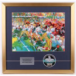 Joe Montana Signed Leroy Neiman San Francisco 49ers 22.5x23 Custom Framed Print Display with Super B