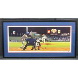 """Roger Clemens  Rich Gedman Signed Boston Red Sox 21x41 Custom Framed Lithograph Display Inscribed """"4"""