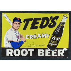 Ted Williams Signed 10x15 Ted's Root Beer Metal Advertisement Sign (JSA LOA)