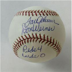 """Tom Seaver  Don Werner Signed OML Baseball Inscribed """"Reds 4 - Cards 0"""" (JSA COA)"""