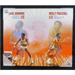 "Walt Frazier  Earl Monroe Signed New York Knicks 24x30 Photo on Canvas Inscribed ""HOF 1987""  ""HOF 19"