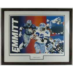 Emmitt Smith Signed LE Dallas Cowboys 20x28 Custom Framed Lithograph Display (JSA COA)