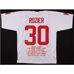 """Mike Rozier Signed Career Highlight Stat Jersey Inscribed """"Heisman 1983"""" (Beckett COA)"""