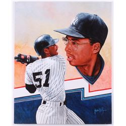 Bernie Williams New York Yankees 16x20 Original Painting on Canvas Signed by Artist Leon Wolf (PA LO