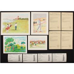 "Lot of (4) Artist Signed Golf Lithographs including LE ""Lighthouse Links"", LE ""In The Rough"", LE ""On"
