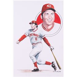 "Chuck Feist Signed ""Johnny Bench"" 10x15 Watercolor Painting (PA LOA)"
