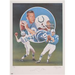 Johnny Unitas Signed LE Baltimore Colts 18x24 Lithograph (PSA Hologram)