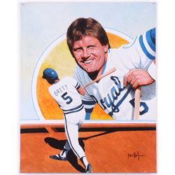 George Brett Kansas City Royals 16x20 Original Painting on Canvas Signed by Artist Leon Wolf (PA LOA