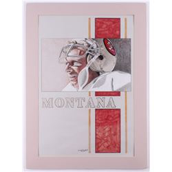 "Chuck Feist Signed ""Joe Montana"" 19.5x27 Custom Matted Watercolor Painting Display (PA LOA)"