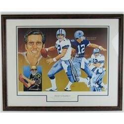 Roger Staubach Signed LE Dallas Cowboys 20x28 Custom Framed Lithograph Display (JSA COA)