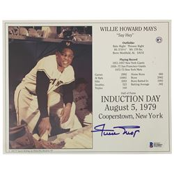 Willie Mays Signed Hall of Fame Induction Day 8x10 Card (Beckett COA)