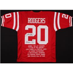 "Johnny Rodgers Signed Career Highlight Stat Jersey Inscribed ""Heisman '72"" (Beckett COA)"