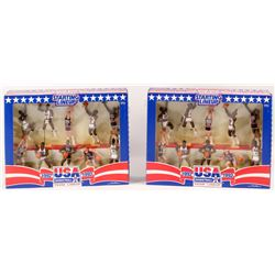 Lot of (2) Vintage 1992 Starting Lineup Team USA Basketball Players Action Figure Sets with Michael