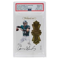 2016 Panini Flawless Rookie Autographs #2 Carson Wentz RC (PSA 9)