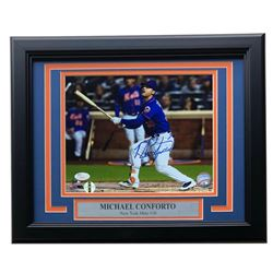 Michael Conforto Signed New York Mets 11x14 Custom Framed Photo Display (JSA COA  LOJO COA)