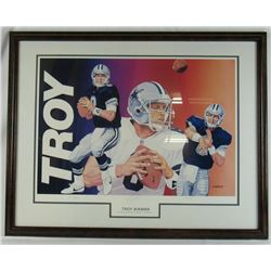 Troy Aikman Signed LE Dallas Cowboys 20x28 Custom Framed Lithograph Display (JSA COA)
