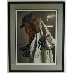 Yogi Berra Signed New York Yankees 21x28 Custom Framed Lithograph Display (JSA COA)