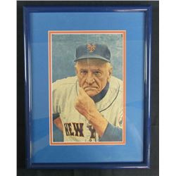 Casey Stengel Signed New York Mets 12x16 Custom Framed Magazine Photo Display (PSA LOA)