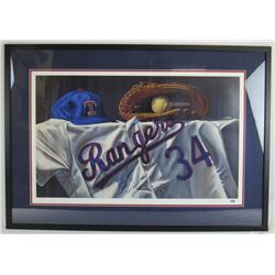 "Nolan Ryan Signed Texas Rangers 26x37 Custom Framed Lithograph Display Inscribed ""HOF 99"", ""324 Wins"