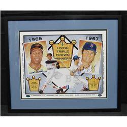 Carl Yastrzemski  Frank Robinson Signed Triple Crown Winners 22x26 Custom Framed Lithograph Display