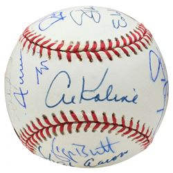 3000 Hit Club OAL Baseball Signed by (15) with Stan Musial, Willie Mays, Al Kaline, Lou Brock, Hank