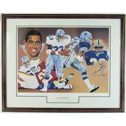 Tony Dorsett Signed LE Dallas Cowboys 20x28 Custom Framed Lithograph Display (JSA COA)