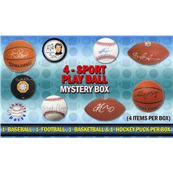 Schwartz Sports 4-Sport Play BALL Mystery Box - Series 1 (4 Items Per Box) (1 Each Baseball, Basketb