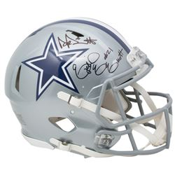 Dak Prescott  Ezekiel Elliott Signed Dallas Cowboys Full-Size Authentic On-Field Speed Helmet (Becke