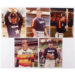 Lot of (5) Signed Houston Astros 8x10 Photos with Nolan Ryan, Don Sutton, Terry Puhl, Tommy Helms,