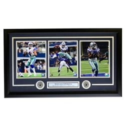 Dak Prescott, Ezekiel Elliot  Amari Cooper Dallas Cowboys 19x31 Custom Framed Photo Display