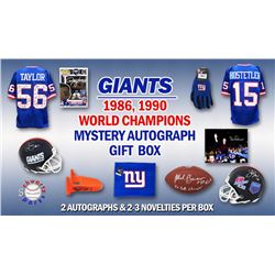 1986, 1990 New York Giants World Champs Mystery Autograph Gift Box – Series 1 (Limited to 100) –