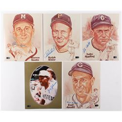 Lot of (5) Hall of Fame Legends Signed 8x10 Photos with Ralph Kiner, Warren Spahn, Luke Appling, Ear