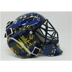 """Martin Brodeur Signed St. Louis Blues Mini Goalie Mask Inscribed """"HOF 18"""" (Fanatics Hologram)"""