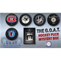 Schwartz Sports The G.O.A.T. Hockey Superstar Signed Hockey Puck Mystery Box - Series 1 (Limited to