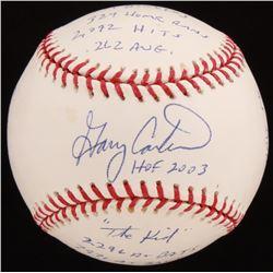 Gary Carter Signed LE OML Baseball With Extensive Stats Inscription (Reggie Jackson COA  PSA COA - G